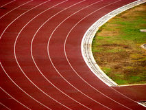 Track. An athletic track from a stadium Stock Photos