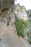 Track. Trembling track at the mountains of Vikos canyon in greece, the deepest canyon in Europe Royalty Free Stock Images