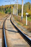 Track. An old railroad track in the Autumn forest Royalty Free Stock Image