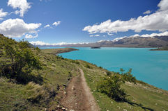 The track above Lake Tepako Royalty Free Stock Photo