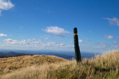 Track across hill tops in Maungaharuru Range, Hawkes Bay, New Z Royalty Free Stock Photo