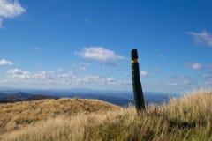 Track across hill tops in Maungaharuru Range, Hawkes Bay, New Z Royalty Free Stock Photo