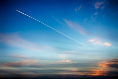 Track aircraft in the sky Royalty Free Stock Photos