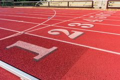 Free Track And Field Race Course Lane Numbers 1 Thru 9. Empty Seats Behind Fence Royalty Free Stock Photos - 168314378