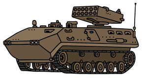 Track armoured vehicle. Hand drawing of a sand launcher track armoured vehicle - not a real model Royalty Free Stock Photos