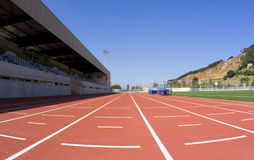 Track athletics. Sports centre with a red racetrack Royalty Free Stock Image