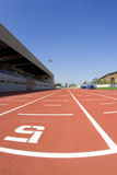 Track athletics. Sports centre with a red racetrack Royalty Free Stock Images