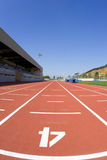 Track athletics. Sports centre with a red racetrack Royalty Free Stock Photos