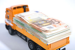 Track with banknotes. Royalty Free Stock Photo