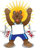Track Bear. Happy bear ecstatic that he has just finished a race in first place Stock Images