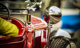 On the track 1929 Cadillac Phaeton four-door Convertible vintage. The 21 Gun Salute International Vintage Car Rally 2016 took place on 7th February 2016 at Buddh Royalty Free Stock Photo