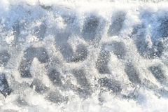 The track on the car on the iced snow Stock Photography