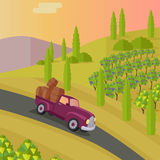 Track Carries Baskets with Grape. Wine Production. Royalty Free Stock Image