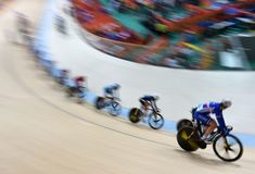 Track Cycling at the 2016 Olympics. Rio de Janeiro -Brazil, - Track Cycling at the 2016 Olympics in the park Stock Images