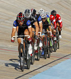 Track cyclists line pack Royalty Free Stock Photos