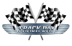 TRACK DAY Checkered, Chequered Flags Motor Racing. Start and finish flags vector illustration