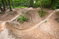 Track for dirt jumping on bikes at the forest Royalty Free Stock Photos