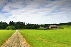 Track and farm at Cartmel Stock Image