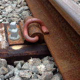 Track fasteners. A fastening system, used on a wooden sleeper to secure railroad tracks Stock Photography