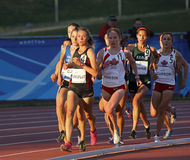 Track female athletes running sun canada Royalty Free Stock Photography