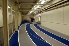 Track and field. Empty university track and field stock photography