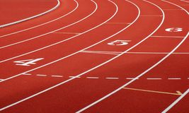 Track and Field. Close-up of a university track stock image