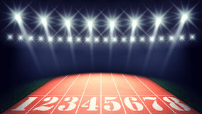 Track and field. Track lanes and floodlights , summer olympics stadium Stock Images