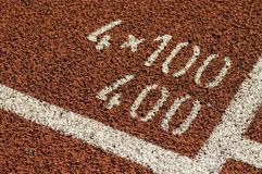 Track and field 400 meter mark Stock Images