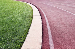 Track and field. Lanes of the curve on a runners track stock photo