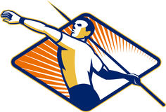 Track and Field Athlete Javelin Throw Retro Stock Images