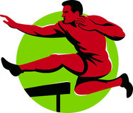 Track and Field Athlete Jumping Hurdles Retro Stock Images