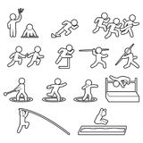 Track and field athletics line icon set. Outline sports icon set. Vector. Eps10 Stock Images