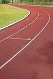 Track and field cinder path with curve Stock Photography