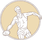 Track and Field Discus Thrower Circle Mono Line Royalty Free Stock Photo