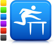 Track and field  icon on square internet button Royalty Free Stock Photography