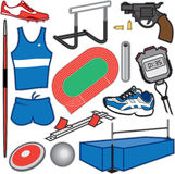 Track and Field Items. Vector Illustration of items used for track and field athletic events Stock Photography