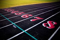 Track & Field Lanes 1 through 8. Outdoor Track and Field track showing lanes 1 through 8 stock image