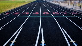 Track & Field Lanes 1 through 8. Down the straight away stock image