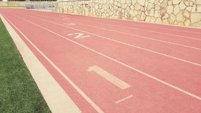 Track and field lanes royalty free stock images