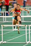 Track and Field Meeting 2010. VIENNA,  AUSTRIA - FEBRUARY 16 Indoor track and field meeting.  Sophie Enzinger (Austria) places 11th in the women's 60m hurdles Royalty Free Stock Image
