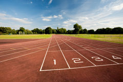 Track and field. A track and field sports race track Stock Photos