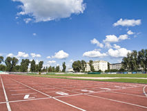 Track and field stadium overview. Stock Photos