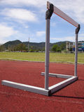 Track and Field Track hurdle , Puerto Rico, Carribean. A hurdle stands alone in a track at a Puerto Rican University Stock Photography