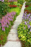 Track in the flower-bed. Track of concrete tiles in the flower-bed stock photography