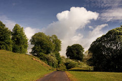 Track in green countryside. Scenic view of narrow track in green countryside with cloudscape background Stock Images
