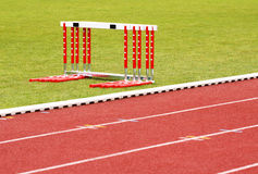 Track and hurdles Royalty Free Stock Photo