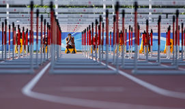 Track hurdles man start canada Royalty Free Stock Photography