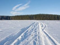 Track In Snowy Field On Forest Background Royalty Free Stock Image