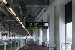 Track and information board of High-speed trains in Shin Takaoka Royalty Free Stock Photography