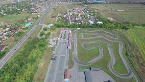 Track for karting. Aerial view stock video footage